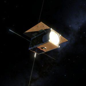 PW-Sat2 z otwartymi panelami słonecznymi. Autor renderu: Marcin Świetlik