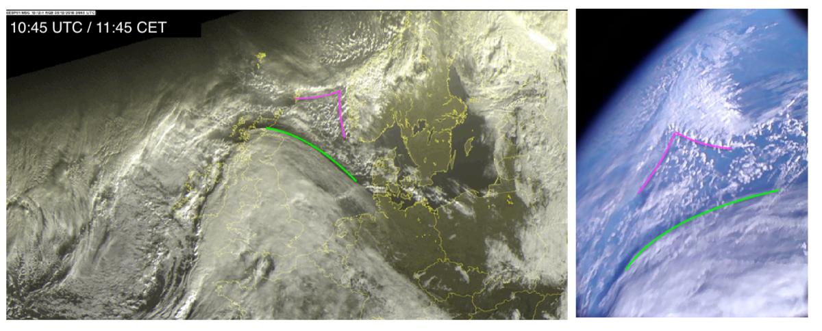 Po lewej zdjęcie z satelitów meteorologicznych przedstawiające pokrywę chmur nad Europą w momencie przelotu PW-Sata2, po prawej dla porównania zdjęcie odebrane przez PW-Sata2. Zdjęcie pokrywy chmur za sat24.com/EUMETSAT/Met Office